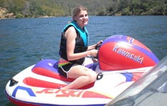Girl sitting on jet ski