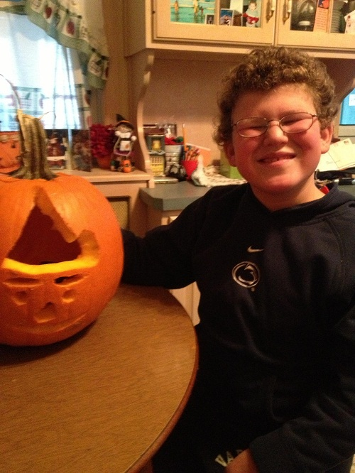 Pumpkin Carving Pediatric Stroke Survivor Nick